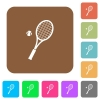 Tennis racket with ball rounded square flat icons - Tennis racket with ball flat icons on rounded square vivid color backgrounds.