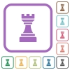 Black chess rook simple icons - Black chess rook simple icons in color rounded square frames on white background