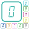 digital number zero of seven segment type vivid colored flat icons - digital number zero of seven segment type vivid colored flat icons in curved borders on white background
