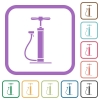 Air pump with gloss simple icons - Air pump with gloss simple icons in color rounded square frames on white background