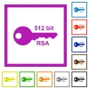512 bit rsa encryption flat color icons in square frames on white background - 512 bit rsa encryption flat framed icons