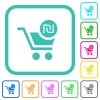 Checkout with new Shekel cart vivid colored flat icons - Checkout with new Shekel cart vivid colored flat icons in curved borders on white background