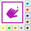 Left handed move up gesture flat framed icons - Left handed move up gesture flat color icons in square frames on white background