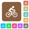 Bicycle with rider rounded square flat icons - Bicycle with rider flat icons on rounded square vivid color backgrounds.