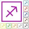Sagittarius zodiac symbol flat framed icons - Sagittarius zodiac symbol flat color icons in square frames on white background