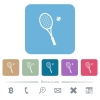 Tennis racket with ball rounded square flat icons - Tennis racket with ball white flat icons on color rounded square backgrounds