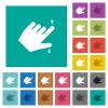 Left handed pinch open gesture multi colored flat icons on plain square backgrounds. Included white and darker icon variations for hover or active effects.