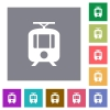 Tram square flat icons - Tram flat icons on simple color square backgrounds