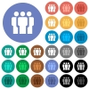Team multi colored flat icons on round backgrounds. Included white, light and dark icon variations for hover and active status effects, and bonus shades. - Team round flat multi colored icons