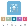 Digital certificate rounded square flat icons - Digital certificate white flat icons on color rounded square backgrounds