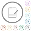 Spiral notepad with pencil flat icons with outlines - Spiral notepad with pencil flat color icons in round outlines on white background