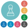 White chess pawn flat round icons - White chess pawn flat white icons on round color backgrounds