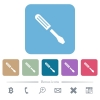 Single screwdriver rounded square flat icons - Single screwdriver white flat icons on color rounded square backgrounds