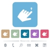 Left handed move up gesture rounded square flat icons - Left handed move up gesture white flat icons on color rounded square backgrounds