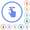 right handed scroll left gesture icons with shadows and outlines - right handed scroll left gesture flat color vector icons with shadows in round outlines on white background