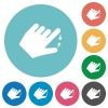 Left handed pinch close gesture flat round icons - Left handed pinch close gesture flat white icons on round color backgrounds