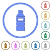 Water bottle with label icons with shadows and outlines - Water bottle with label flat color vector icons with shadows in round outlines on white background