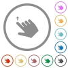 Right handed move up gesture flat icons with outlines - Right handed move up gesture flat color icons in round outlines on white background