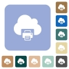 Cloud printing rounded square flat icons - Cloud printing white flat icons on color rounded square backgrounds