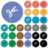 Barber scissors multi colored flat icons on round backgrounds. Included white, light and dark icon variations for hover and active status effects, and bonus shades. - Barber scissors round flat multi colored icons