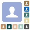 Blank user avatar rounded square flat icons - Blank user avatar white flat icons on color rounded square backgrounds