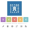 Digital certificate flat white icons in square backgrounds - Digital certificate flat white icons in square backgrounds. 6 bonus icons included.