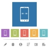 Mobile iris scanner flat white icons in square backgrounds. 6 bonus icons included. - Mobile iris scanner flat white icons in square backgrounds