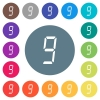 digital number nine of seven segment type flat white icons on round color backgrounds - digital number nine of seven segment type flat white icons on round color backgrounds. 17 background color variations are included.