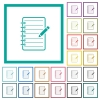 Spiral notepad with pencil flat color icons with quadrant frames - Spiral notepad with pencil flat color icons with quadrant frames on white background