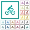Bicycle with rider flat color icons with quadrant frames - Bicycle with rider flat color icons with quadrant frames on white background