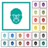 Face recognition flat color icons with quadrant frames - Face recognition flat color icons with quadrant frames on white background