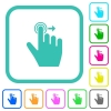 Right handed slide right gesture vivid colored flat icons in curved borders on white background - Right handed slide right gesture vivid colored flat icons - Small thumbnail