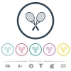 Two tennis rackets flat color icons in round outlines - Two tennis rackets flat color icons in round outlines. 6 bonus icons included.