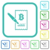 Signing Bitcoin cheque vivid colored flat icons in curved borders on white background - Signing Bitcoin cheque vivid colored flat icons - Small thumbnail