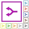 Split arrows left flat framed icons - Split arrows left flat color icons in square frames on white background