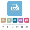 BAK file format white flat icons on color rounded square backgrounds. 6 bonus icons included - BAK file format flat icons on color rounded square backgrounds - Small thumbnail