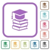 Graduation cap with books simple icons - Graduation cap with books simple icons in color rounded square frames on white background