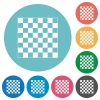 Chess board flat round icons - Chess board flat white icons on round color backgrounds