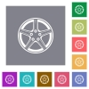 Alloy wheel square flat icons - Alloy wheel flat icons on simple color square backgrounds