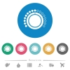 Volume control flat white icons on round color backgrounds. 6 bonus icons included. - Volume control flat round icons