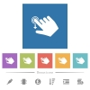 Right handed slide down gesture flat white icons in square backgrounds - Right handed slide down gesture flat white icons in square backgrounds. 6 bonus icons included.