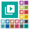Video library multi colored flat icons on plain square backgrounds. Included white and darker icon variations for hover or active effects. - Video library square flat multi colored icons