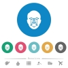 Face recognition flat white icons on round color backgrounds. 6 bonus icons included. - Face recognition flat round icons