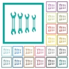 Set of wrenches flat color icons with quadrant frames - Set of wrenches flat color icons with quadrant frames on white background