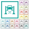 Car service flat color icons with quadrant frames on white background - Car service flat color icons with quadrant frames