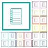 Notepad flat color icons with quadrant frames - Notepad flat color icons with quadrant frames on white background