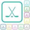 Hockey sticks with puck vivid colored flat icons - Hockey sticks with puck vivid colored flat icons in curved borders on white background