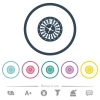 Roulette wheel flat color icons in round outlines - Roulette wheel flat color icons in round outlines. 6 bonus icons included.