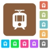 Tram rounded square flat icons - Tram flat icons on rounded square vivid color backgrounds.