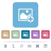 Add new image flat icons on color rounded square backgrounds - Add new image white flat icons on color rounded square backgrounds. 6 bonus icons included